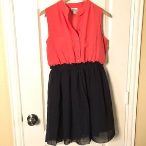 EUC Bright Orange/Coral and Navy Blue Dress